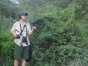 Josh recording bird songs