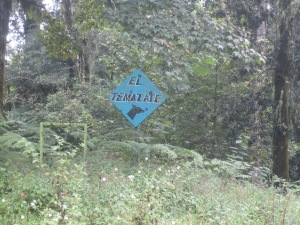 "Roadside sign at the ""Lontla"" track in Tlanchinol"