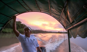 The morning boat ride up the Usumacinta River