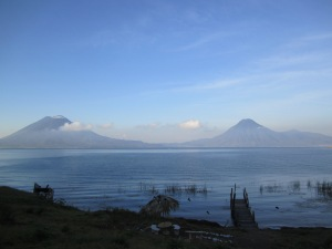 Lake Atitlán with Volcán San Pedro, Tolimán, and Atitlán in the background.