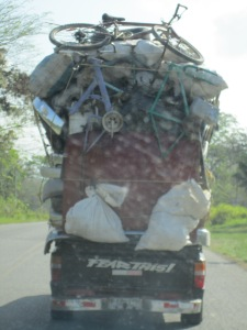 The scariest thing we came across in Honduras ... the fear of falling items from a truck driving down the highway