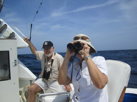 Kathi and George Angehr looking for seabirds
