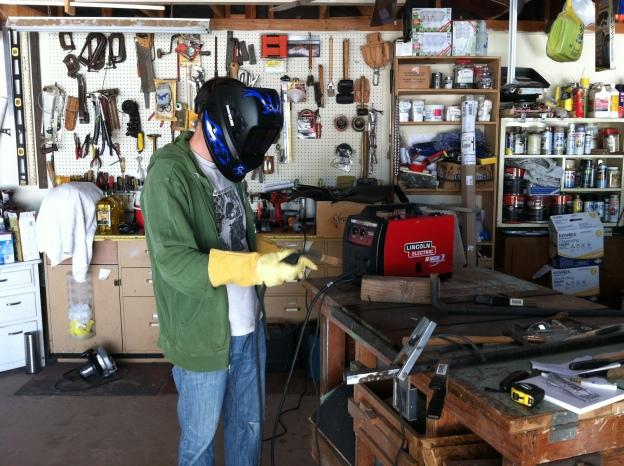 Josh getting ready to weld