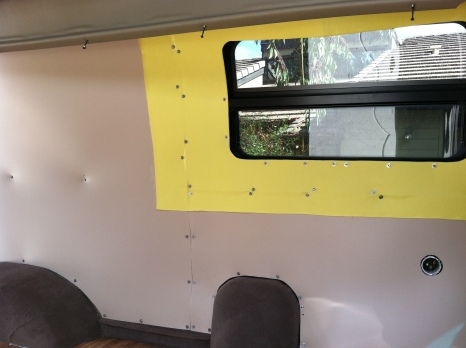 Komatex walls with vinyl covering areas that will be exposed