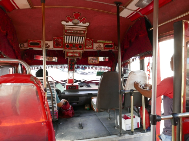 The inside of the first bus on our way to the botanic garden