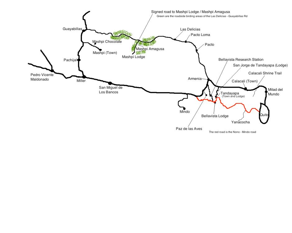 Map of the Mindo area including Mashpi-Amagusa and Mashpi Chocolate